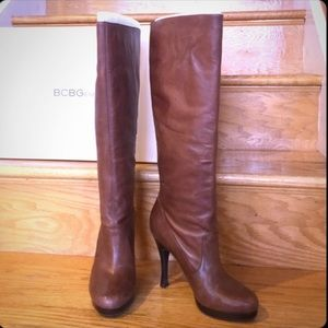 NEW! BCBG brown heel boots